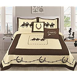 Unidos $1 5pc Western Riding Cowboy Barbed Wire Quilt Set Red Beige Turquoise King & Queen (Beige, Queen)