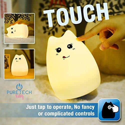 PURETECH - Luz nocturna para bebé, gatito o recámara infantil. Tapa para cambiar colores, portátil y recargable, ideal...
