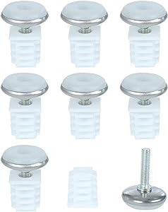 uxcell Leveling Feet 19 x 19mm Square Tube Inserts Kit Furniture Glide Adjustable Leveler for Chair Desk Leg 8 Sets