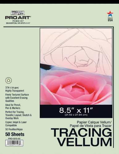 Tracing Vellum - PRO ART 8-1/2-Inch by 11-Inch Tracing Vellum Paper Pad