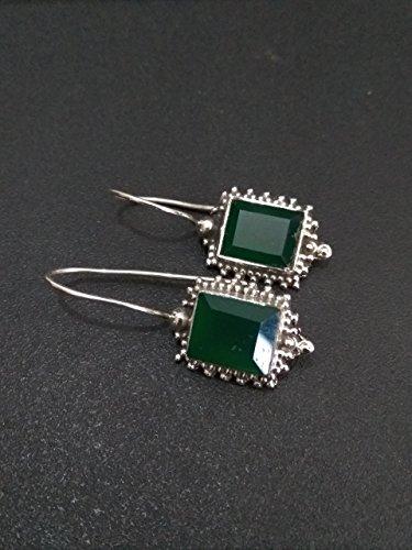 (Green Onyx Earrings- Sterling Silver Earrings- Genuine Onyx Earrings- Trending Earrings- Fashion Earrings- Boho Earrings- Fine Earrings- Gift for wife- Bridesmaids gifts- Anniversary Gift)