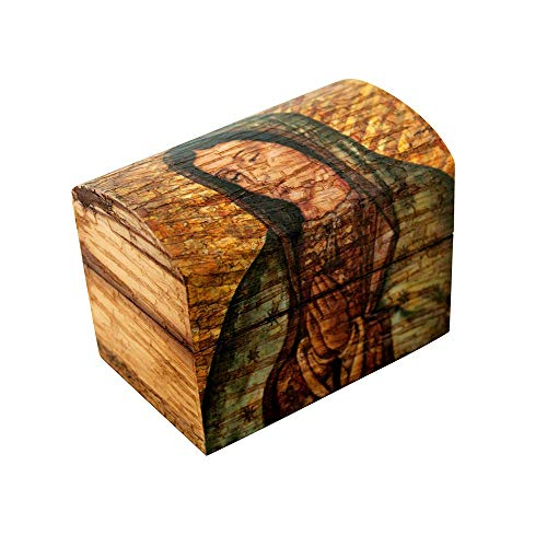 (VILLAGE GIFT IMPORTERS Our Lady of Guadalupe Wooden Chest | Mary Madonna Small Decorative Chest | Perfect for Storing Rosaries or Small)