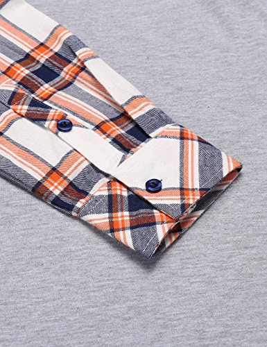 Coofandy Men's Casual Long Sleeve Plaid Shirt Zipper Polo Shirts,Large,Grey by COOFANDY (Image #6)