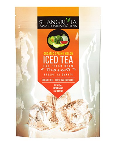 Shangri La Tea Company Iced Tea, Organic Spring Melon Green Tea, Bag of 6, 1/2 Ounce Pouches (Packaging May Vary) (Tea Green Tea Melon)
