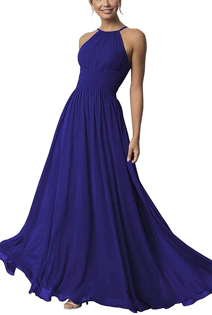 Women's Halter Bridesmaid Dresses Full Length Chiffon A-Line Prom Formal Wedding Party Gowns 51Kf0Hw4P8L