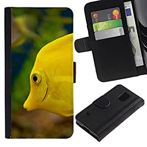 iKiki Tech / Cartera Funda Carcasa - Yellow Sea Underwater Life Green - Samsung Galaxy S5 SM-G900