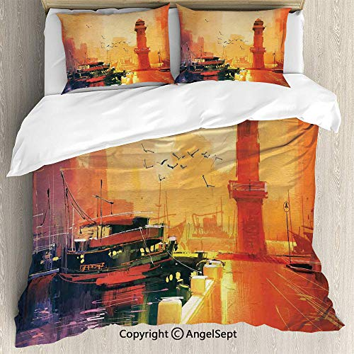 Dinette Set Pastel - SfeatruAngel 3 Piece Duvet Cover Set, (1 Quilt Cover 2 Pillow Shams) Illustration of a Lighthouse and Fishing Boat at Sunset with Seagulls in Pastel Colors Art,Queen Size,for Bedroom,Guest Room,Multi