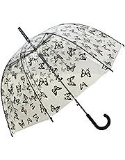 SMATI Stick Clear Umbrella - Windproof - Birdcage Dome See Through (Flowers Stripe Stars Dog Cat)