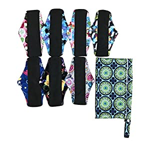 8pcs Set 1pc Mini Wet Bag +7pcs 10 inch Sanitary Reusable Washable Cloth Menstrual Pads/Panty Liners with Bamboo Charcoal Super-Absorbent Layer, Super Soft and Comfortable for General Flow