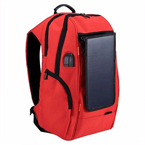 Rojo TOOGOO manejar funciones mochila puerto solar USB transpirable de portatil multiples bolsa panel de aire externo con del azul portatil carga libre Ixr61qI