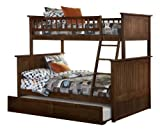Nantucket Bunk Bed with Raised Panel Trundle Bed, Twin Over Full, Antique Walnut