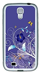 Vector Purple Leaves Flowers TPU Case Cover for Samsung Galaxy S4 and Samsung Galaxy I9500 ¡§C White