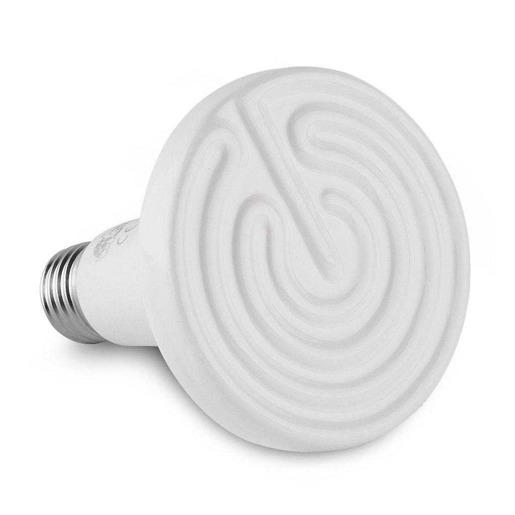 Floureon Ceramic Infrared Bulb Heat Emitter Reptile Lamp 110V 10,000 Hours Long Life Light Bulb, White(100W)