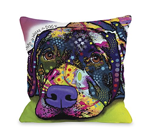 One Bella Casa Savvy Lab with Text Pillow by Dean Russo, 16