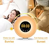 Sunrise Alarm Clock Radio, Wake Up Digital Electric Alarm Clock Simulator with 6 Nature Sounds FM Radio 7 Color Night Touch Control and Snooze Function for Bedside, Adults & Kids Bedside Lamp