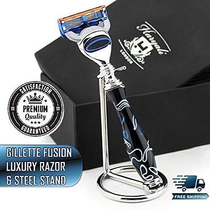 Nuevo Edición Mármol Azul - Gillette Fusion Maquinilla de Afeitar con  Compatible de Lujo Mango   5b5ffcd8bc6e