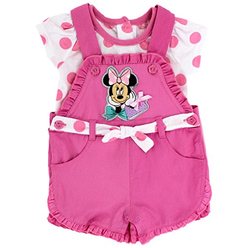[Minnie Mouse Baby Girls Tee and Shortall Set (12M, Pink Polka Dots)] (Minnie Mouse Outfit For Babies)