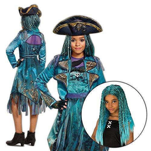 Maleficent Costume Descendants (Uma Costume Descendants 2 Disney Girls Deluxe Isle with Wig Kit - 10/12)