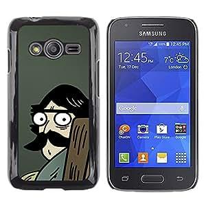 TECHCASE**Cubierta de la caja de protección la piel dura para el ** Samsung Galaxy Ace 4 G313 SM-G313F ** Man Moustache Big Drawing Cartoon Blue