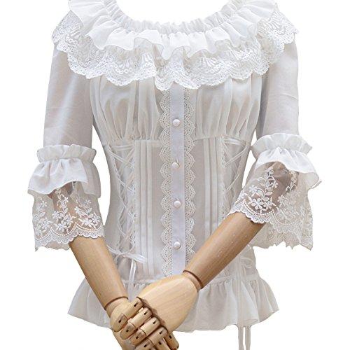 Smiling Angel Ruffle Retro Chiffon Half Sleeve Victorian Lolita White Blouse (Angel Blouse)