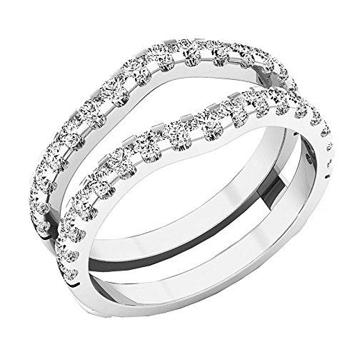 Cubic Ring 10k Zirconia (Dazzlingrock Collection 1.60 Carat (ctw) 10K White Gold Round White Cubic Zirconia Wedding Enhancer Double Ring (Size 8))