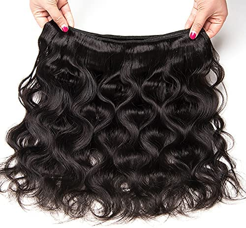 Body Wave Human Hair Bundles for Women, 16/18/20/22 Inch , Unprocessed Brazilian Hair Wave Bundles, Human Hair Bundles with Lace Closure, Natural Black Wavy Hair Extensions for Makeup Cosplay Party