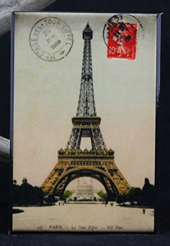 (Eiffel Tower Postcard Refrigerator Magnet. Paris France)