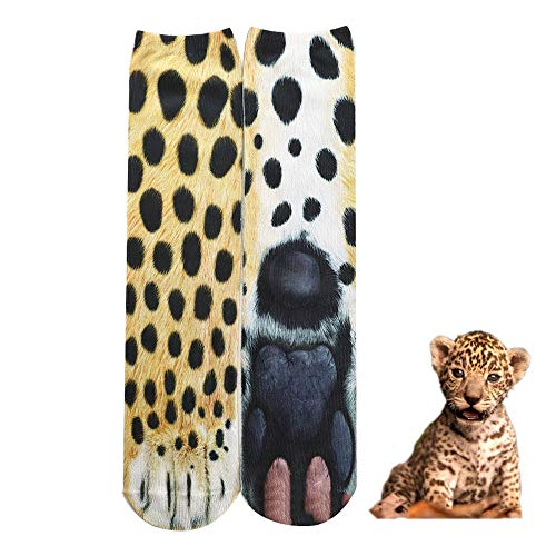 Multi Colored Paw Prints - BONTOUJOUR Creative Unisex Men Women Fun Socks 3D Print Animal Feet Pattern Novelty Socks Paw Crew Socks- Leopard