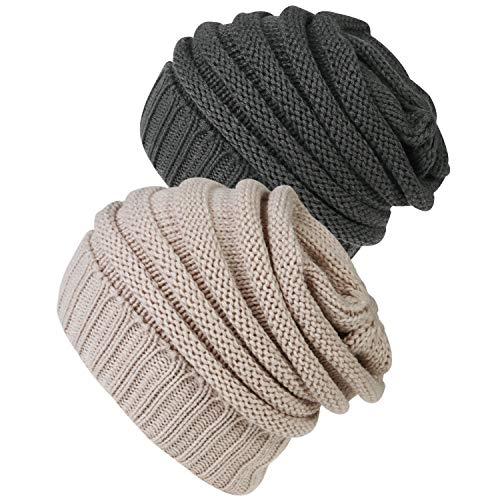 Senker 2 Pack Slouchy Beanie Winter Knit?Hat Soft Cap for Women and Men