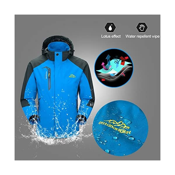 KISCHERS Rain Jacket, Men's Waterproof Jackets with Hood, Outdoor Raincoat, Windproof Softshell Jacket for Hiking