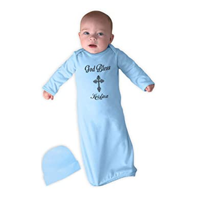 5d6f4b13 Amazon.com: Personalized Custom Baptism God Bless Cross Newborn Sleeping  Gown One Piece: Clothing