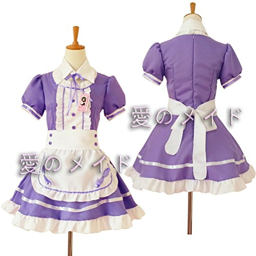 Tomato eggs Anime Cosplay Costume French Maid Outfit Halloween, 4 pcs as a set including dress; headwear; apron; fake collar (purple, Size XL)