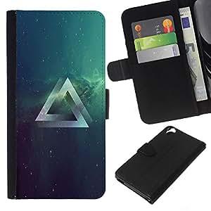NEECELL GIFT forCITY // Billetera de cuero Caso Cubierta de protección Carcasa / Leather Wallet Case for HTC Desire 820 // Psychedelic Grometry Triángulo del espacio