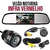 Kit Espelho Retrovisor Com Tela E Câmera De Ré Com 10 Led