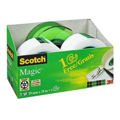Scotch AAMT-3 Klebeband Magic 810 Promotion, 3 Rollen Klebefilm 19 mm x 25 m + Handabroller gratis