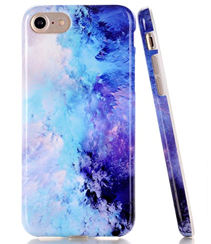 BAISRKE Blue Marble Design Clear Bumper TPU Soft Rubber Silicone Cover Phone Case Compatible with iPhone 7 (2016) / iPhone 8 (2017) [4.7 inch]