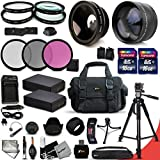 Ultimate 33 Piece Accessory Kit for Canon EOS T5 T3 1200D 1100D Kiss X70 Kiss X50 DSLR Cameras Includes: 58mm High Definition 2X Telephoto Lens + 58mm High Definition Wide Angle Lens + 2 High Capacity LP-E10 LPE10 Batteries with Quick AC/DC Charger + 32GB