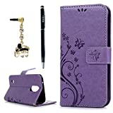 LG K20 Plus Case, LG K20 V Case, LG K10 2017 Case, YOKIRIN Wrist Strap Flip Kickstand PU Leather Wallet Cover Embossed Floral Butterfly with ID&Credit Card Holder 3D Elephant Dust Plug, Purple