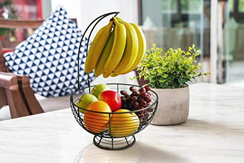 Fruit Basket With Banana Hanger - Regal Trunk Rustic French Farmhouse Fruit Bowl With Banana Tree Hangar | Vegetable and Fruit Bowl With Detachable Banana Stand | Countertop Fruit Bowl Centerpiece by Regal Trunk & Co. (Image #7)