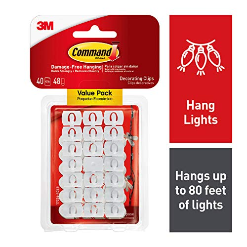 Command White Light Clips, Decorate Damage-Free (17026-40ES) (Clips For Hanging Lights Christmas)