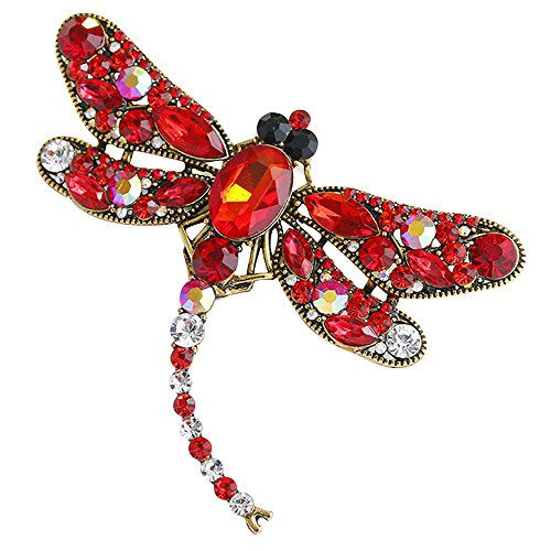 Jewelry Animal Brooches Costume (Red Brooch Pin Pendant for Women Rhinestone Stylish Big Retro Animal Crystal Brooches Gift for)