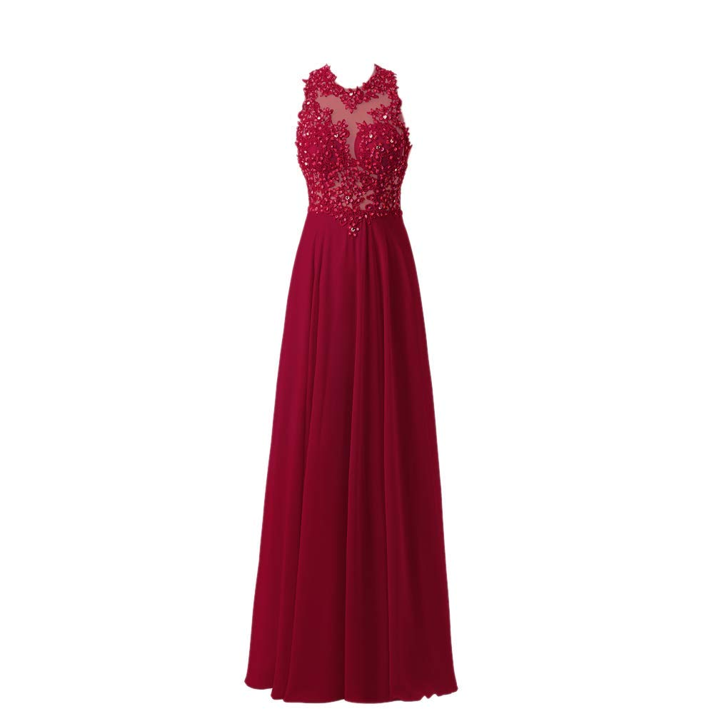 Burgundy Fannybrides A Line High Neck Lace Prom Dress Beaded Long Evening Gown