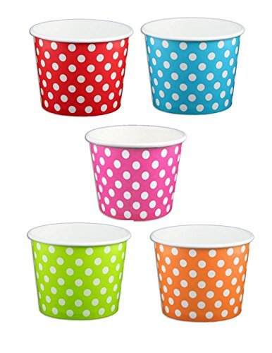 Pink Ice Cream Dots - Beach Party Polka Dot Ice Cream Cups (8 ounce, Pink Rainbow Mix Dot)