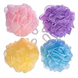 Fuxury FU Global Pouf 5 Inch Mesh Shower Sponge Bath Lily Pack of 8