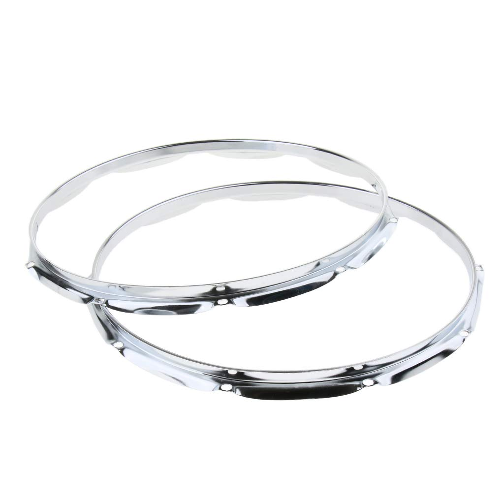 Silver Flameer 2pcs 14 Inch Snare Drum Plating Hoop Ring Die Cast for Jazz Drum Set Kit Parts 10 Hole