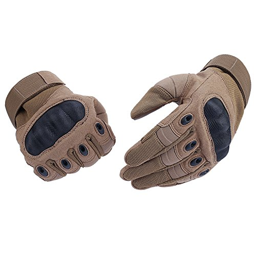 Tactical Gloves , ADiPROD (1 Pair) Hard Knuckle Full Finger for Outdoor Shooting Army Airsoft Gear (Brown, Small)