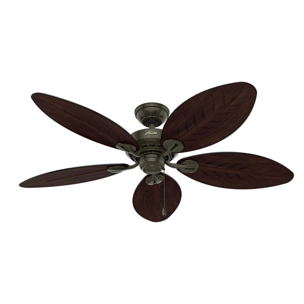 Hunter 54098 Bayview 54-inch ETL Damp Listed, Provencal Gold Ceiling Fan with Five Antique Dark Wicker/Antique Dark Palm Leaf Plastic Blades Review