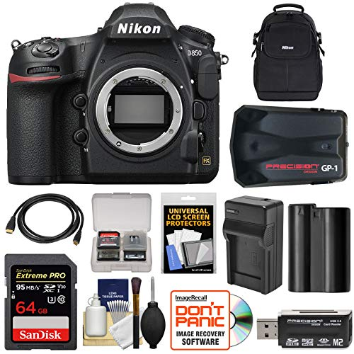 Nikon D850 Wi-Fi 4K Digital SLR Camera Body with 64GB Card + Battery & Charger + Case + GPS Adapter + Kit