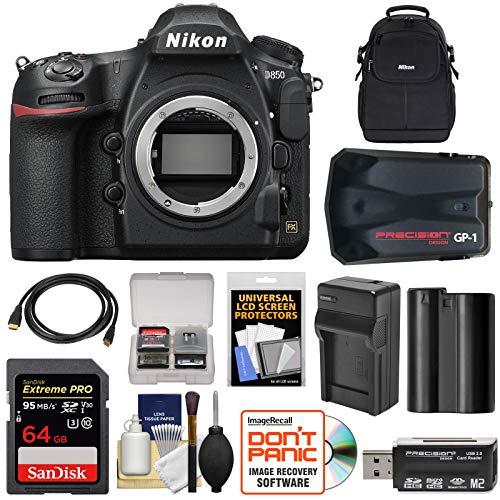 Nikon Gp1 Gps Adapter - Nikon D850 Wi-Fi 4K Digital SLR Camera Body with 64GB Card + Battery & Charger + Case + GPS Adapter + Kit