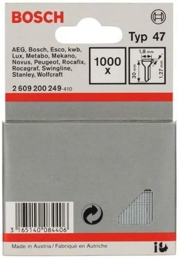 Clavo tipo 47 pack de 1000 Bosch 1 609 200 377 1,8 x 1,27 x 19 mm